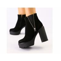 Женские черные ботинки из велюра 40