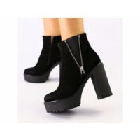 Женские черные ботинки из велюра 37