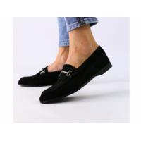 Замшевые закрытые туфли на низком ходу, черные 40
