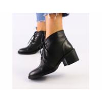 Женские черные кожаные ботинки 37