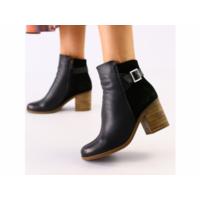 Женские черные ботинки кожа и велюр 39