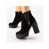 Женские черные ботинки из велюра 38