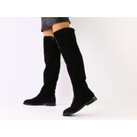 Зимние черные замшевые ботфорты