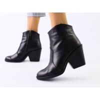 Женские черные кожаные ботинки на каблуке, 36