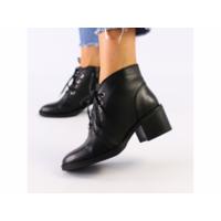 Женские черные кожаные ботинки 39