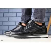 Мужские зимние черные кожаные кроссовки на меху 41