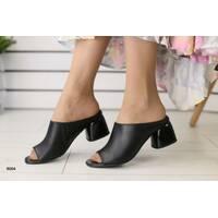 Женские сабо на каблуке, черные кожаные 39