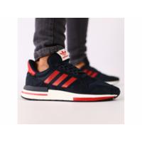 Мужские темно-синие кроссовки замша сетка с красными кожаными вставки 44