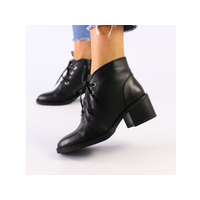 Женские черные кожаные ботинки 38
