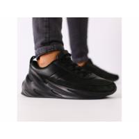 Мужские черные кожаные кроссовки с черными вставками 46