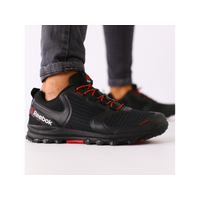 Мужские черные кроссовки сетка с черными кожаными вставками 41