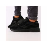 Мужские черные замшевые кроссовки с черными кожаными вставками 45