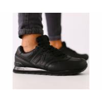 Мужские черные кожаные кроссовки 44
