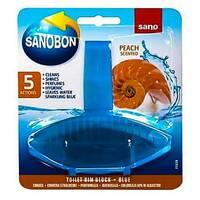 Блок для унітаза освіжуючий Sanobon з ароматом персика до 800 зливів 55 гр.