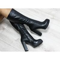 Зимние натуральные кожаные сапоги с молнией по всей длине на удобном каблуке 39