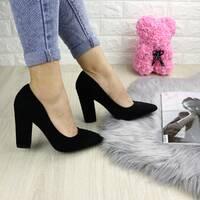 Туфли женские на каблуке черные Fire 1229