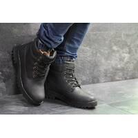Мужские зимние ботинки черные кожа Timberland 6823