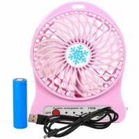Переносний портативний вентилятор Ручний і Настольний UTM Рожевий