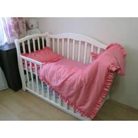 Комплект постельного белья с рюшей для девочки. 3 предмета. Цвет малиновый