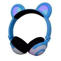 Навушники LINX Bear Ear Headphone Навушники з ведмедячими вушками LED підсвічування 350 mAh Блакитної