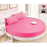 Круглая простынь на кровать Модель 2  Малиновая