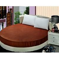 Круглая простынь на кровать Модель 2  КОРИЧНЕВАЯ