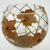 Ваза стеклянная ручной работы Оранжевые цветы (Шарик маленький) ZA - 1056