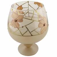 Ваза стеклянная ручной работы Бежевые цветы (Бокал средний) ZA - 1255