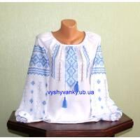 вышиванка для девочки ручной работы с голубым орнаментом купить недорого
