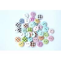 Набор круглых декоративных пуговиц Pugovichok  для рукоделия и творчества 15мм в полоску и квадрат