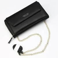 Женский кошелек BAELLERRY Ladies кожаный клатч с ремишком-цепочкой Черный