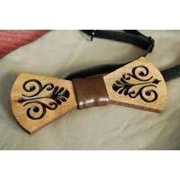Деревянная бабочка галстук Роспись коричневый ручной работы