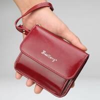 Женский кошелек BAELLERRY Young Small кожаное портмоне на кнопке Красный (1051)
