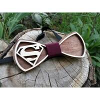 Деревянная бабочка галстук Ободок Супер мен ручной работы, серия Fantasy