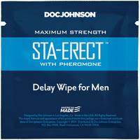 Пролонгуюча серветка Doc Johnson Sta - Erect Delay Wipe For Men з феромонами