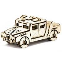 Механический деревянный 3D пазл SUNROZ Автомобиль Hummer H-1 74 эл.