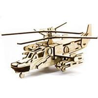 """Механический деревянный 3D пазл SUNROZ Вертолет """"""""Черная акула"""""""" 88 эл."""