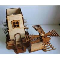 """Подарочный деревянный сувенирный набор """"Мини-бар Мельница и стопки"""" ручной работы"""
