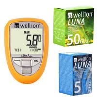 Акційний набір Глюкометр Wellion Luna Duo тест-полоски №50 шт. (глюкоза) тест-полоски №5 (холестерин)