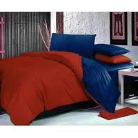 Комплект двустороннего постельного белья Винный + Синий