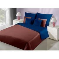 Комплект двустороннего постельного белья Темно коричневый + Синий