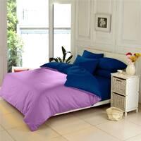 Комплект двустороннего постельного белья Сирень + Синий