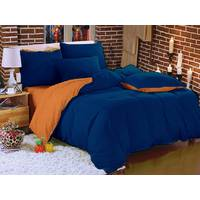 Комплект двустороннего постельного белья Синий +  Оранжевый