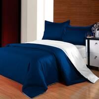Комплект двустороннего постельного белья Синий +  Белый