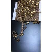 Бахрома для штор коричневая с золотым с шариками