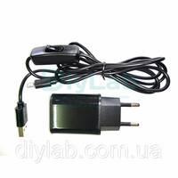 Блок питания 5В 2А USB, USB - microUSB кабель с выключателем