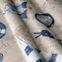 Ткань хлопковая для штор, подушек с морской тематикой 82637v1