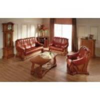 Кожаный комплект мебели на дубе FRYDERYK 3+1