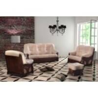 Кожаный комплект мебели на дубе Italiano 3+1+1