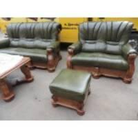 Кожаный комплект мебели на дубе STRONG 3+1+1